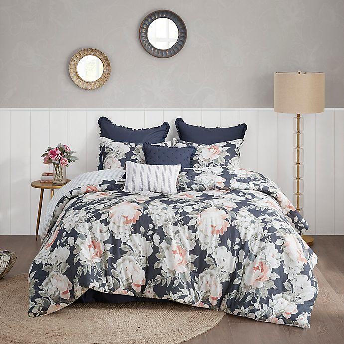 Alternate image 1 for Madison Park Mavis 8-Piece Reversible Comforter Set in Dark Blue