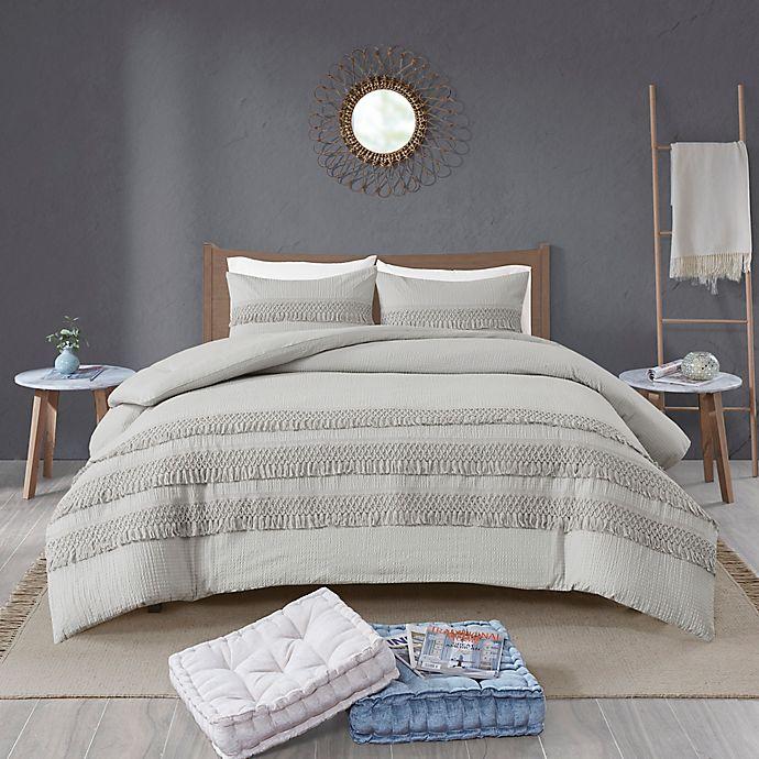 Alternate image 1 for Madison Park Amaya 3-Piece Cotton Seersucker Comforter Set in Grey