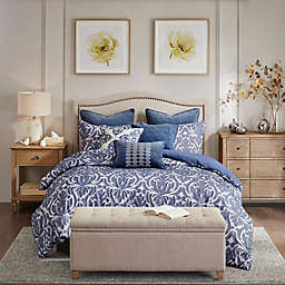 Madison Park Signature Maison Cotton Clip Jacquard Damask Comforter Set in Blue