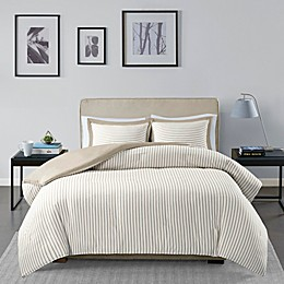 Madison Park Essentials Hayden Reversible Yarn Dyed Stripe Duvet Cover Set in Tan