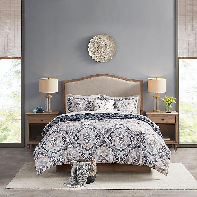Alternate image 1 for Madison Park Essentials Titus Reversible Complete Bedding Set in Navy