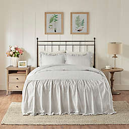 Madison Park Alana 3-Piece Cotton Ruffle Skirt King Bedspread Set in Grey