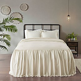Madison Park Juliet 3-Piece Cotton Ruffle Skirt Bedspread Set in Ivory