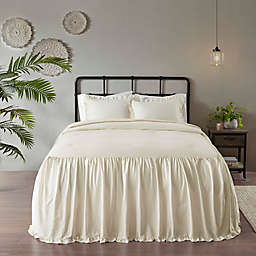 Madison Park Juliet 3-Piece Cotton Ruffle Skirt King Bedspread Set in Ivory