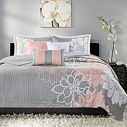 Madison Park Lola 6-Piece Reversible Cotton Printed Coverlet Set in Grey/Blush