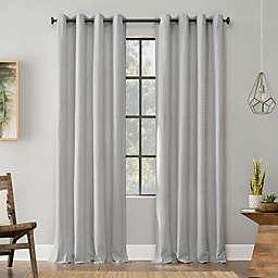 Archaeo® Art Deco Cotton Grommet Top 96-Inch Window Curtain Panel in Gray/White (Single)