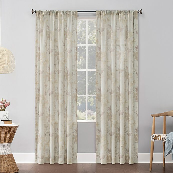 Alternate image 1 for No.918® Hilary Watercolor Floral Linen Blend Semi-Sheer Rod Pocket Window Curtain Panel (Single)