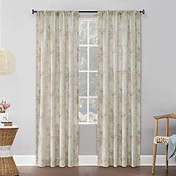 No.918® Hilary Watercolor Floral Linen Blend Semi-Sheer Rod Pocket Window Curtain Panel (Single)