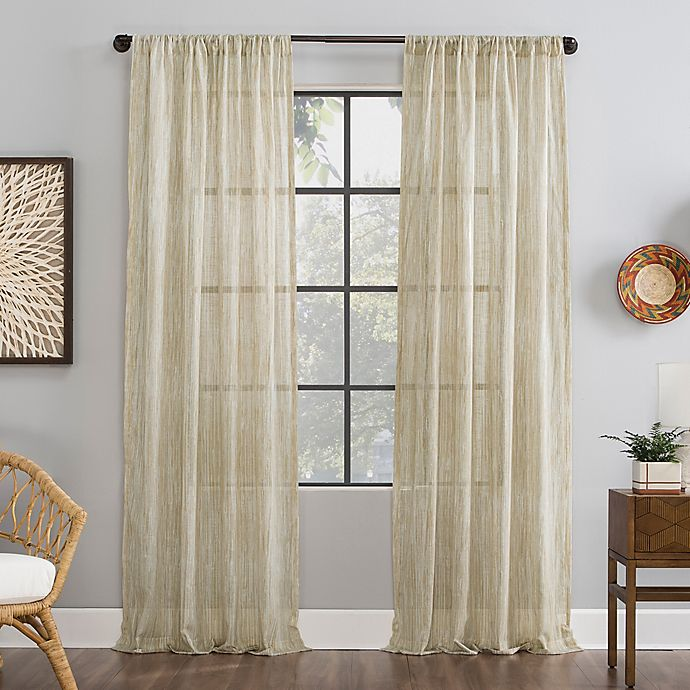 Alternate image 1 for Archaeo® Bamboo Stripe Cotton Sheer Window Curtain (Single)