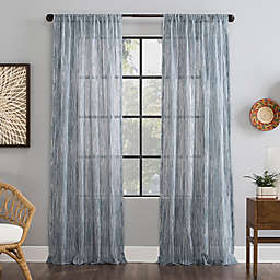 Archaeo® Bamboo Stripe Cotton Sheer 96-Inch Window Curtain in Blue (Single)