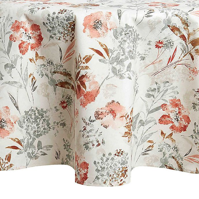 Alternate image 1 for Floral Fields Laminated 70-Inch Round Tablecloth in Cream