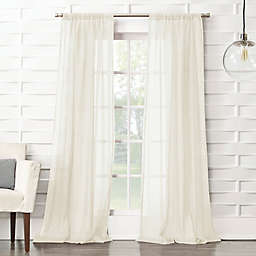 No. 918® Lourdes Crushed Texture Semi-Sheer 84-Inch Rod Pocket Window Curtain Panel in Cream