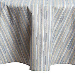 Twill Stripe Laminated 70-Inch Round Tablecloth in Blue