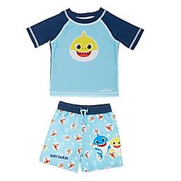 Baby Shark 2-Piece Rashguard and Swim Trunk Set in Blue