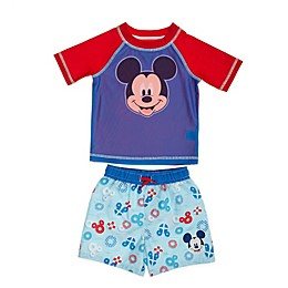 Disney® Mickey Mouse 2-Piece Rashguard and Swim Trunk Set in Blue
