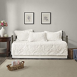 Madison Park Viola 5-Piece Chenille Daybed Set in White