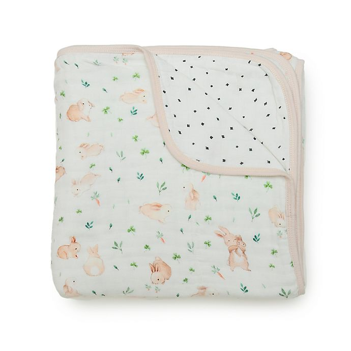 Alternate image 1 for Loulou LOLLIPOP Bunny Meadow Muslin Baby Quilt