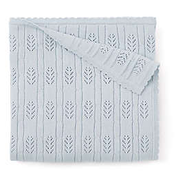 Elegant Baby® Knit Cotton Stroller Blanket in Cloud Blue