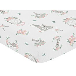 Sweet Jojo Designs Bunny Floral Pattern Fitted Crib Sheet in Pink/Grey