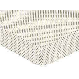 Sweet Jojo Designs® Mini Polka Dots Fitted Crib Sheet in Gold/White