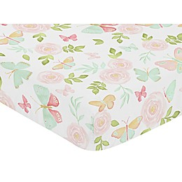 Sweet Jojo Designs Butterfly Floral Fitted Crib Sheet in Pink/Mint