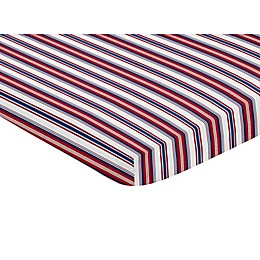 Sweet Jojo Designs® Baseball Patch Solid Fitted Mini Crib Sheet in Red/White/Blue