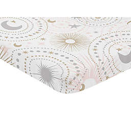 Sweet Jojo Designs Celestial Pink Stars & Moons Print Mini Crib Sheet in Blush/Gold