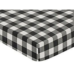 Sweet Jojo Designs® Buffalo Check Print Fitted Crib Sheet in Black/White