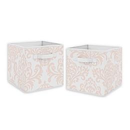 Sweet Jojo Designs Amelia Fabric Storage Bins in Blush/White (Set of 2)