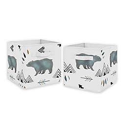 Sweet Jojo Designs Bear Mountain Fabric Storage Bins in Slate/Black (Set of 2)