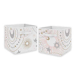 Sweet Jojo Designs Celestial Fabric Storage Bins in Blush/Gold (Set of 2)