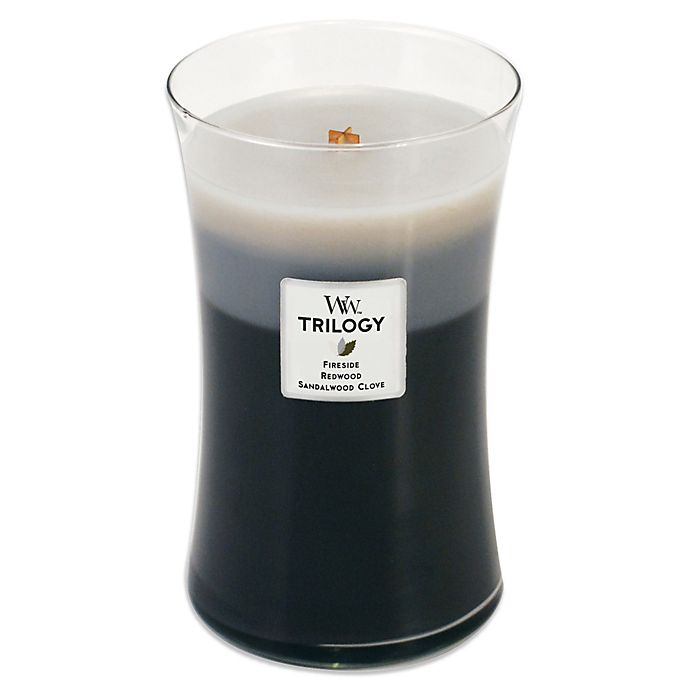 Alternate image 1 for WoodWick® Warm Woods Trilogy 22-Ounce Jar Candle
