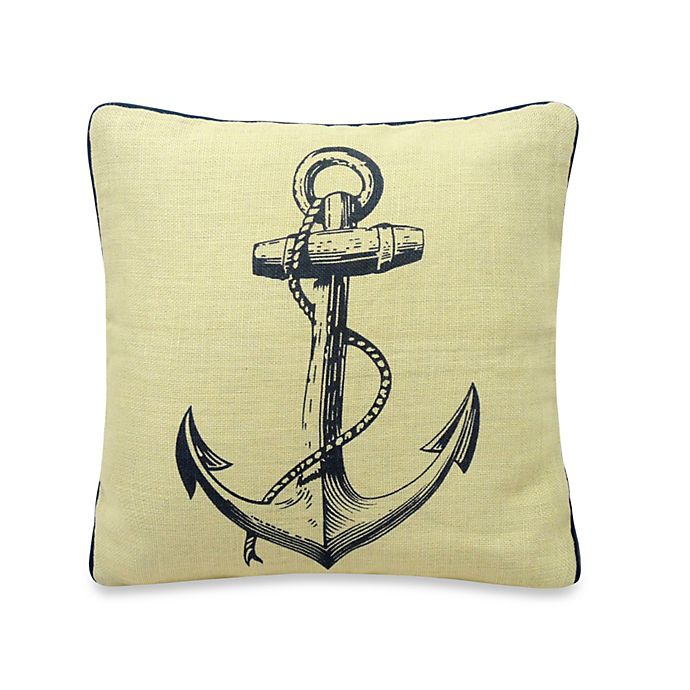 Alternate image 1 for Penzance Anchor Print Square Throw Pillow