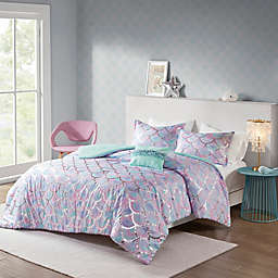 Mi Zone Pearl Metallic 3-Piece Reversible Twin/Twin XL Comforter Set in Aqua/Purple