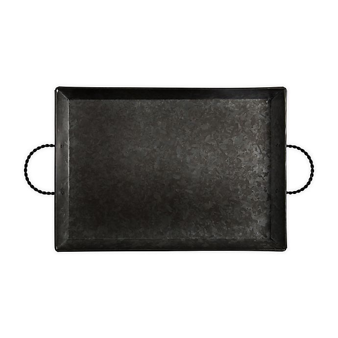 Alternate image 1 for Bee & Willow™ Galvanized Metal 18-Inch Handled Serving Tray in Black