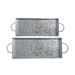 Bee & Willow™ Home 2-Piece Galvanized Metal Serving Tray Set in Silver