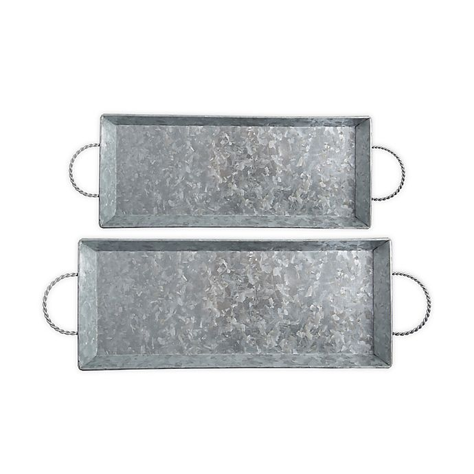 Alternate image 1 for Bee & Willow™ 2-Piece Galvanized Metal Serving Tray Set in Silver