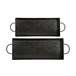 Bee & Willow™ Home 2-Piece Galvanized Metal Serving Tray Set in Black