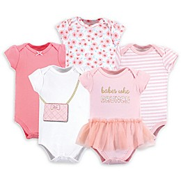 Little Treasure 5-Pack Brunch Bodysuits in Pink