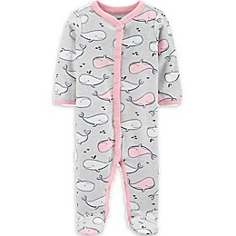 carters® Whale Snap-Up Sleep & Play in Heather/Pink