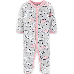 carters® Size 3M Whale Snap-Up Sleep & Play in Heather/Pink