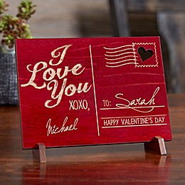 Sending Love Personalized Wood Postcard in Red