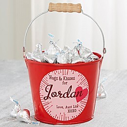 Hugs & Kisses Personalized Mini Treat Bucket in Red