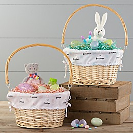 Bunny Treats Personalized Easter Basket With Drop-Down Handle