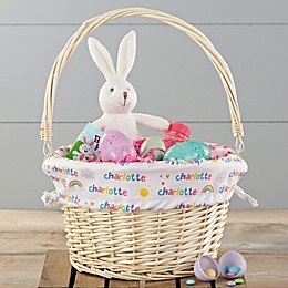 Rainbow Personalized Easter Basket With Drop-Down Handle
