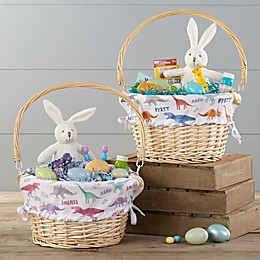 Dinosaur Pattern Personalized Easter Basket With Drop-Down Handle