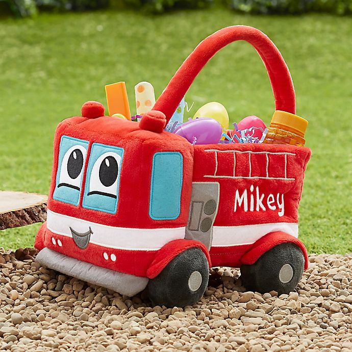 Alternate image 1 for Fire Truck Embroidered Plush Easter Basket