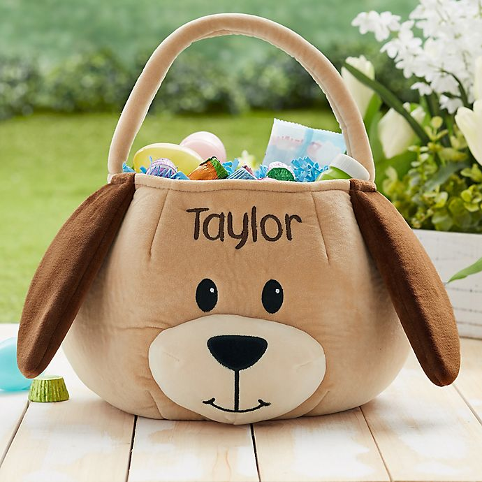 Alternate image 1 for Puppy Embroidered Plush Easter Basket