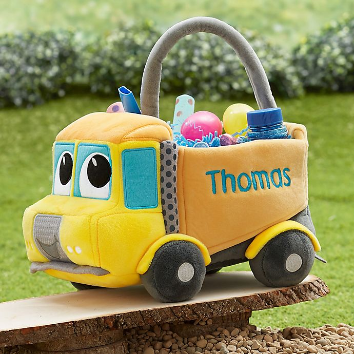 Alternate image 1 for Construction Truck Embroidered Plush Easter Basket