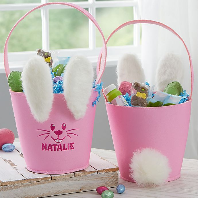 Alternate image 1 for Plush Ears & Tail Personalized Bunny Easter Basket Collection